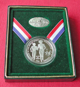 1995 Atlanta Olympics Paralympics proof silver commemorative-box & pin