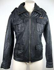 Superdry Brad Leather Jacket Uomo Giacca di pelle giubbotto nero taglia XL NUOVO ETICHETTA
