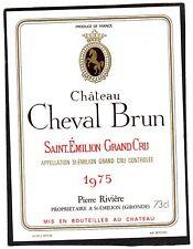 SAINT EMILION GC VIEILLE ETIQUETTE CHATEAU CHEVAL BRUN 1975 §18/04/17§