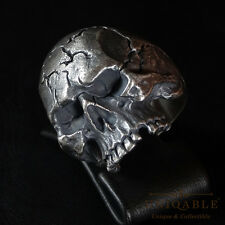 Sterling Silver Biker Harley Skull Ring Davidson Size Man Handmade by UNIQABLE