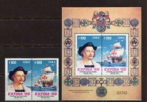 CHILE 1989, EXPLORATION, COLUMBUS, SHIP, Sc 819a,821a, PAIR & SOUVENIR SHEET MNH