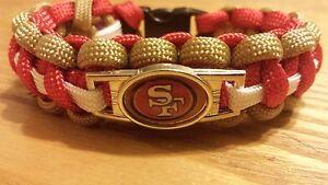 NFL San Francisco 49ers Paracord Bracelet with Charm  (Cobra Weave)
