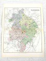 1889 Antique Map of Warwickshire Warwick Rugby Stratford on Avon 19th Century