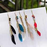 Vintage Charm Bohemian Boho Feather Leaf Tassel Dangle Drop Women Chic Earrings