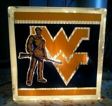 Lighted West Virginia Mountaineers Glass Block Light~ Home Decor~Gift~Lamp