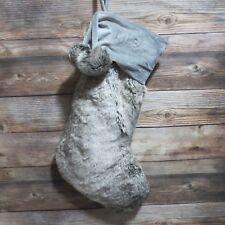 Pottery Barn Teen  Christmas Stocking Velvet faux Fur Gray OMBRE pom pom tassel