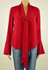 Rachel Rachel Roy Womens Red Tie-Front Bell Sleeves Pullover Top Blouse XS