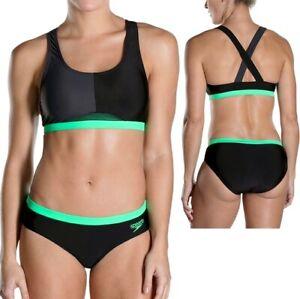 Speedo Hydractive Set Damen Zweiteiler Badeanzug Sport Bikini 2-tlg schwarz/grün