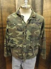 Vtg Outdoor Sportsmen Olive Green Camo Lightweight Cotton Button Down Jacket L