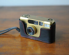 Mr. Zhou Black Leather Half Case with Red Stitching for Contax T2
