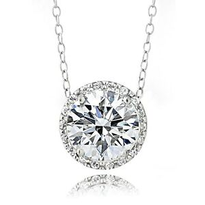 Platinum Plated Sterling Silver 100 Facets Cubic Zirconia Halo Necklace (3cttw)