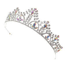 Silver Crystal Tiaras Princess Bridal Crown Hair Clasp For Wedding Party