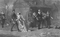 Lover WOMAN GIRL TRIES TO STOP MEN SWORD FIGHT DUEL ~ 1871 Art Print Engraving