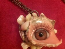 Creepy Human Doll Glass Blue Eye Eyeball Tooth Teeth FancyBrass Necklace Jewelry