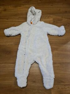 Pumpkin Patch Baby Snowsuit 6-12Months, Fluffy teddy bear All In One