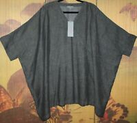 "SAHARA O/S Fabulous Shot Linen Tunic 70+""Bust WIDE FIT Over-Size Grey Marl BNWT"