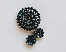 Marquise blue rhinestone 50s round 3 tiered silver toned brooch & earrings vtg