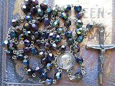 1950's Vintage Solid Cross Faceted Fired Irridiscent Peacock Blue Beads Rosary