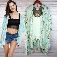 Womens Boho Floral Print Chiffon Loose Shawl Kimono Cardigan Top Cover up Blouse