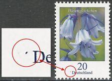 """Hasenglöckchen 20 Cent postfrisch – blauer Fleck vor """"Deutschland"""" – Mi.Nr. 3315"""