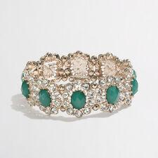 J.Crew Factory crystal daisy stretch bracelet item A0314 NIP $29.50 Green