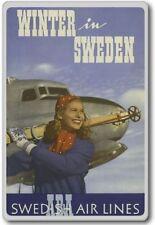 Winter In Sweden, Swedish Air Lines – Vintage Travel Fridge Magnet