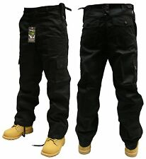 "32"" INCH WAIST BLACK ARMY CARGO COMBAT SECURITY WORK TROUSERS PANTS"