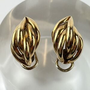 Vintage Pair Of 9ct Yellow Gold Modernist Clip On Earrings 2cm X 1.2cm