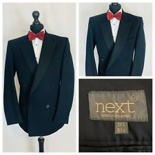 Next Vintage Mens Tuxedo Dinner Suit Jacket Chest 38 Long Double Breasted Black