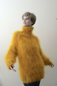 Hand-knitted Fuzzy Longhaired Mohair Sweater Jumper in Amber Yellow Unisex New