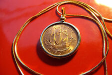 "1967 English Frigate Mint HayPenny on a  24"" Gold Filled Snake Chain, Ship Coin"