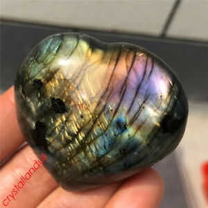 1pc Natural rainbow labradorite heart quartz crystal carved reiki healing 50g+