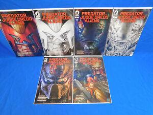 Predator vs Judge Dredd vs Aliens Set 1 2 3 4 Lot + 1 2 Black & White Variant