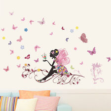 Fairy Flower Butterfly Style Wall Sticker Decal For Nursery Kids Baby Girl Room