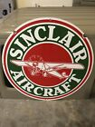 OLD PORCELAIN DOUBLE SIDED 30 INCH SINCLAIR AIRCRAFT GASOLINE SIGN