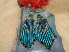 "Native Amer. Cherokee 3"" Beaded Earrings Teal & Amber"