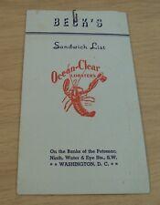 "1930's 'Sandwich List' MENU~""BECK'S"" Washington D.C. Banks of the Potomac~INSERT"