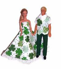Shamrock Print Party Dress & Vest,Green Pants & Wht Shirt-for Barbie & Ken Dolls