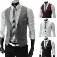 HOT Formal Men's Dress Slim Fit Suit Vest V-neck Waistcoat Business Casual Coat