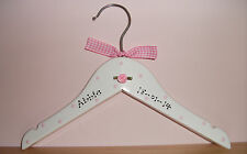 PERSONALISED Small White Wood Hanger ~ New Baby Christening Bridesmaid Pageboy