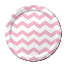 "8 Classic Pink White Chevron ZigZag Birthday Party Large 9"" Paper Lunch Plates"