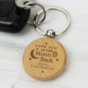 Personalised I Love You To The Moon And Back Wooden Keyring Gift Idea Key Ring