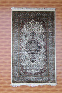 Beige Color Home Décor Foyer Silk Area Rug 3x5 ft Oriental Carpet Hand Knotted
