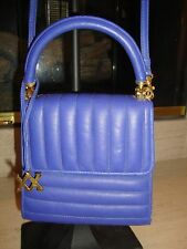 STYLISH BLUE LEATHER SHOULDER BAG / HANDBAG BY ADRIENNE VITTADINI