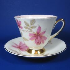 Old Royal Bone China Tea Cup & Saucer Set Flowers Pink Interior England Teacup