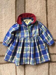 Vintage Tommy Hilfiger Baby Infant Girls 6-12 Month Plaid Dress Blue Green Red