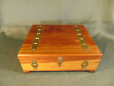 Vintage cedar wood jewelry box brass tacks treasure chest style cards stash