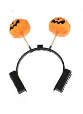 Halloween Light Up Flashing Pumpkin Head Boppers Headband For Fancy Dress Party