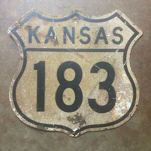 Kansas US route 183 highway marker road sign 1960s