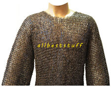 Christmas Presents XXL BLACK FLAT RIVETED LONG SLEEVES CHAINMAIL SHIRT ABS